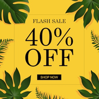 Summer sale poster with tropic leaves