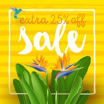Плакат летней распродажи с тропическими цветами и колибри