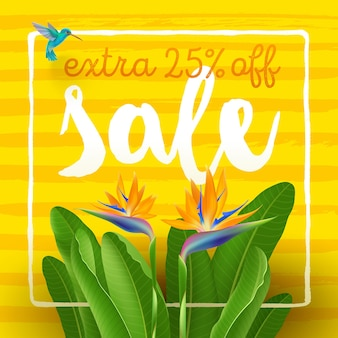 Summer sale poster with tropical flowers and hummingbird