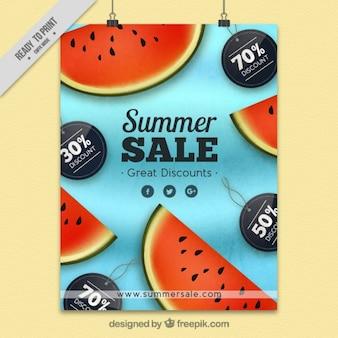 Летняя распродажа постер с арбузами