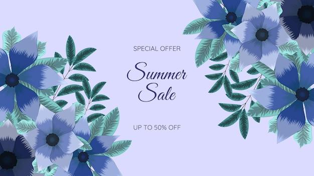 여름 세일 프로모션 웹 배너 여러 가지 빛깔의 편집 가능한 꽃 꽃 프레임