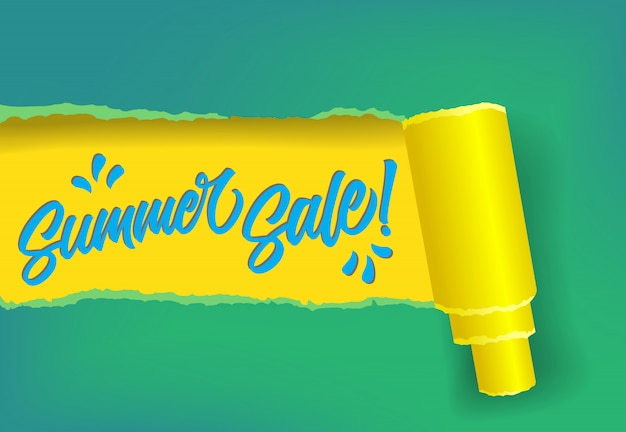 Summer sale promotion banner in yellow, blue and green colors.