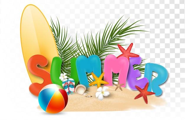 アートワーク、ショッピング、夏のプロモーション、ビーチでの休日、webバナーテンプレート背景3 dスタイルの夏の販売促進要素 Premiumベクター