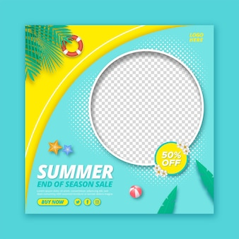 Summer sale promotion square banner template