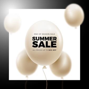 Летняя распродажа реалистичных воздушных шаров баннер