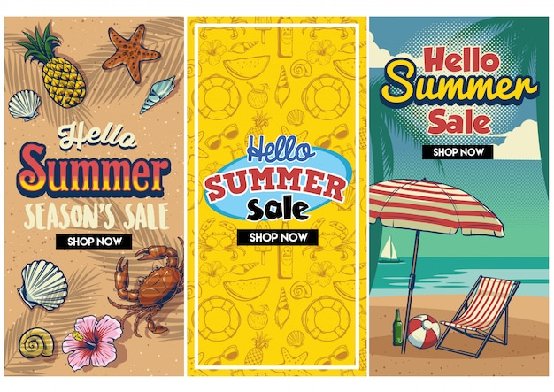 Summer sale retro flyer set