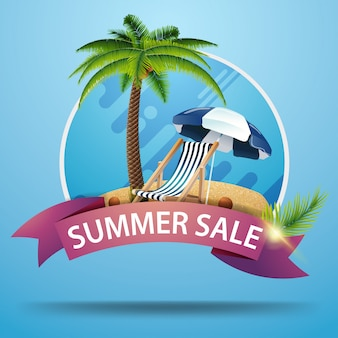 Summer sale, round discount clickable web banner with ribbon for your website or business