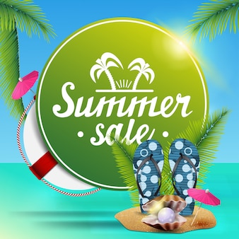 Summer sale, round green web banner for your business