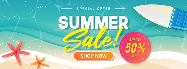 서핑 보드 배너와 함께 여름 판매 바다 파도 거품