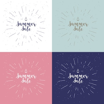 Summer sale set. drawn lettering. vector summer sale typography. calligraphic phrase on white background with sunburst. usable for cards and posters, sale billboards and signs. sale banner design.