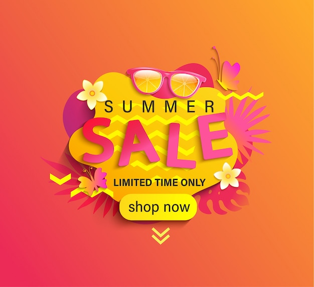 Summer sale, shop now banner.