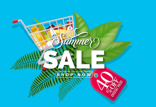 Summer sale shop now forty percent off special price lettering.