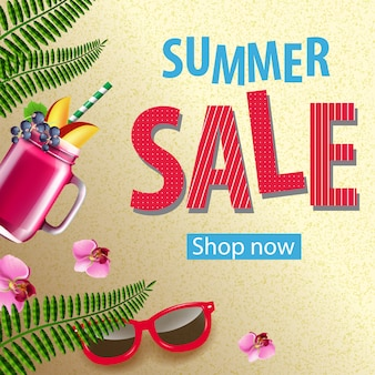 Summer sale shop now poster with pink flowers, sunglasses, mug of berry smoothie