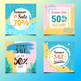 Summer sale social media banner design vector