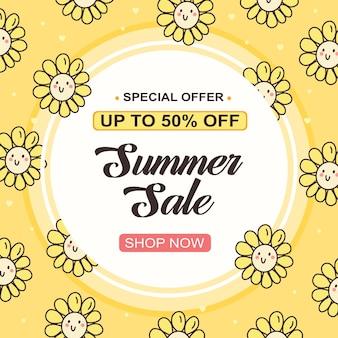 Summer sale social media banner posting with flower ornament Premium Vector