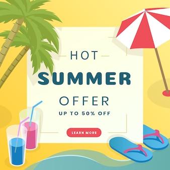 夏のセールソーシャルメディアバナーのテンプレート。トロピカルリゾート、観光代理店の広告ポスターのコンセプト。ヤシの木、フリップフロップ、傘、カクテルのタイポグラフィーとフラットのベクトル図