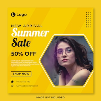 Summer sale social media banner template