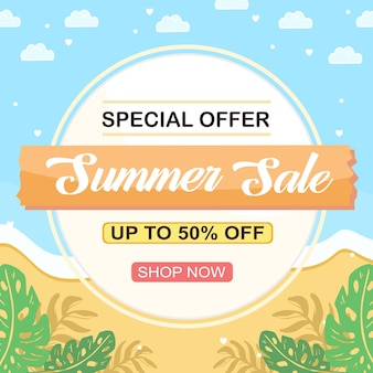 Summer sale social media banner with beach and tropical plant