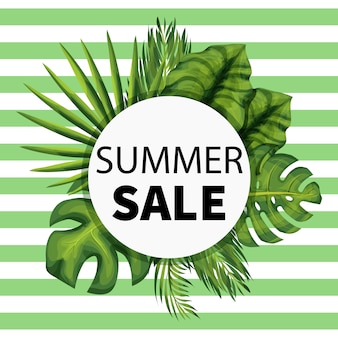 Summer sale social media banner with exotic jungle plant.