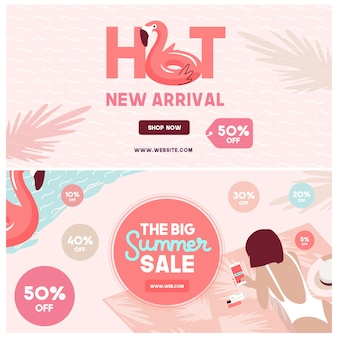 Summer sale social media banners