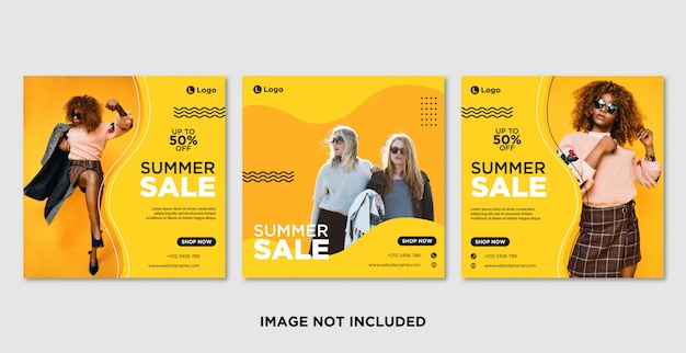 Summer sale social media post banner template