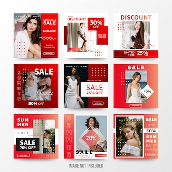 Summer sale social media post set template