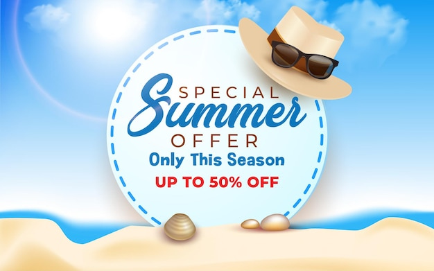 Summer sale special offer background in flat design