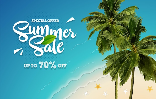Summer sale special offer banner with coconut tree