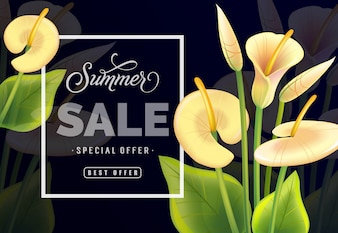 Summer sale Special offer Best offer lettering. Modern inscription with yellow laceleaf