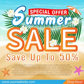 Summer sale special offer deal promotion banner template
