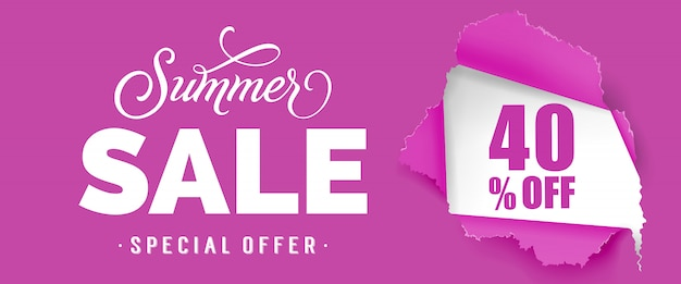 Summer sale special offer forty percent off lettering.