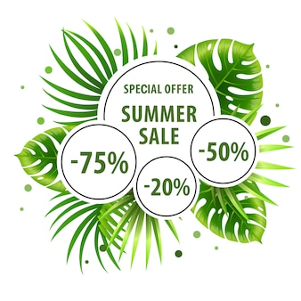 Summer sale, special offer green poster with palm leaves and discount stickers.