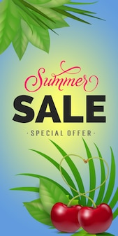 Summer sale special offer lettering. consumerism inscription with tropical leaves