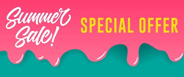 여름 세일, 물이 뚝뚝 떨어지는 페인트에 대한 특별 할인 레터링. 여름 행사 또는 판매 광고
