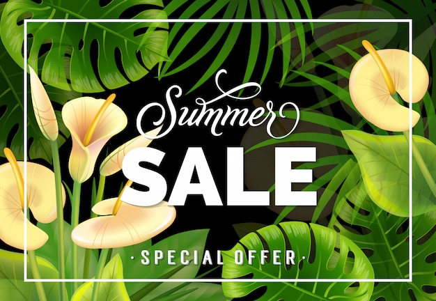 Summer sale special offer lettering with calla lilies. summer offer or sale advertising