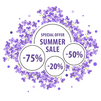 Summer sale, special offer poster with lilac blossoms and discount stickers.