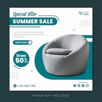 Summer sale special offer social media post template