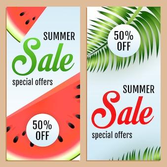 Летняя распродажа специальные предложения надписи, арбуз и листья