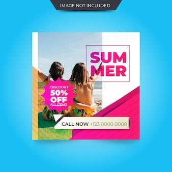Summer sale square banner template or instagram post