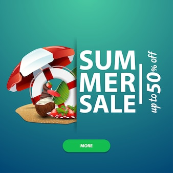 Summer sale, square banner template for your website, advertising and promotions