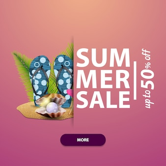 Summer sale, square banner for your website, advertising and promotions