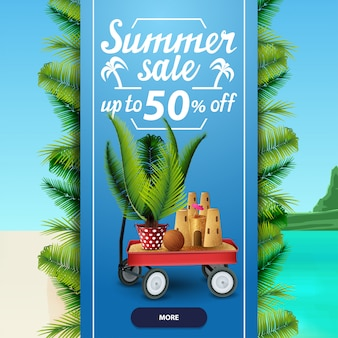 Summer sale, square discount web banner template for your business