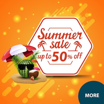 Summer sale, square discount web banner for your website with watermelon in glasses