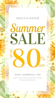 Summer sale story with hand-drawn floral decoration