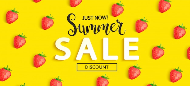 Summer sale strawberry banner on yellow