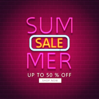 Summer sale. summer sale with neon effect
