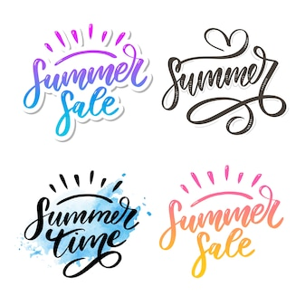 Summer sale and summer time lettering set