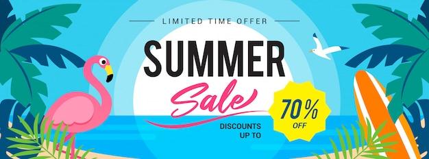 여름 판매 선셋 비치 배너 그림