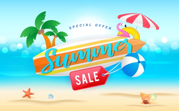 Summer sale surfboard with price tag on the beach