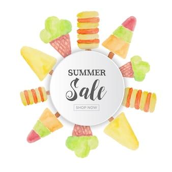 Летняя распродажа с орнаментом для мороженого